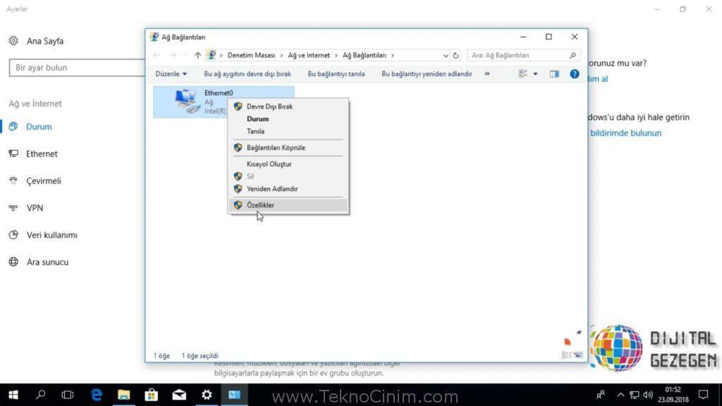 windows 10 dns ayarları